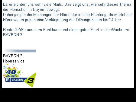 E-Mail-Auszug Bayern 3.